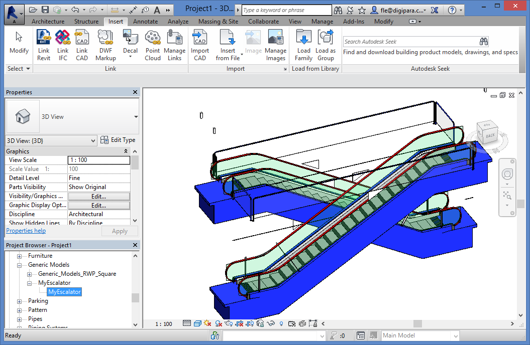 Using Escalators from DigiPara Liftdesigner in Autodesk Revit