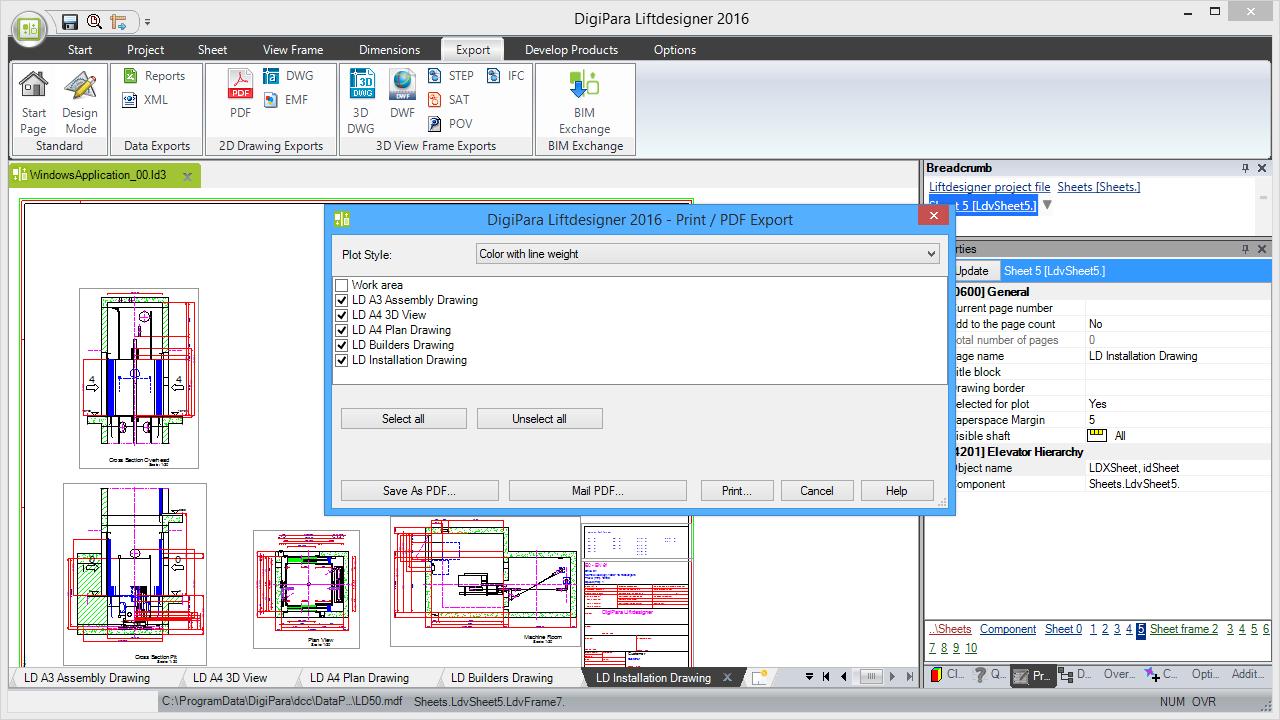 Print/PDF Export Window