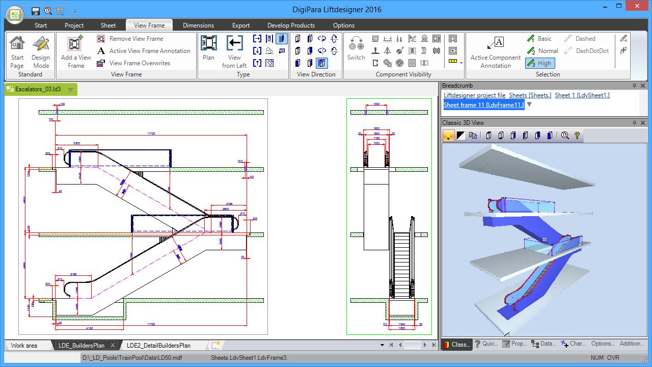 DigiPara® Escalatordesigner 2 Units Scissors Arrangement