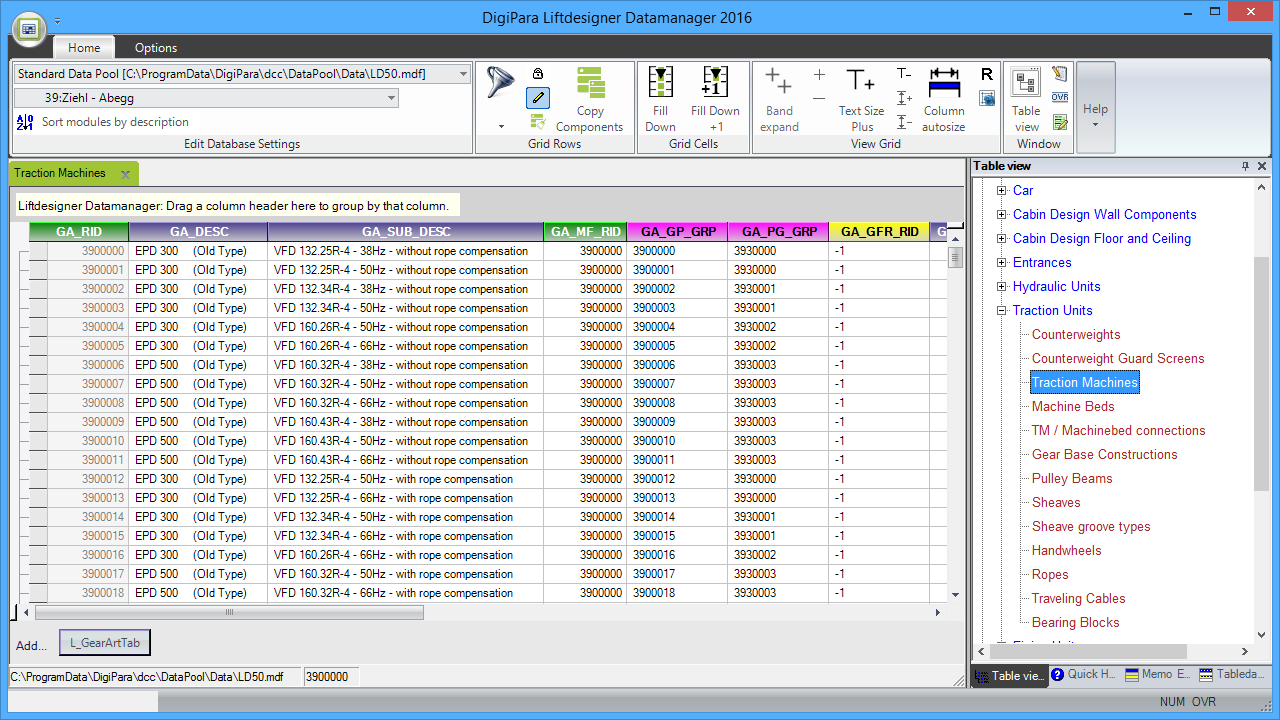 Liftdesigner Datamanager - Traction Machines