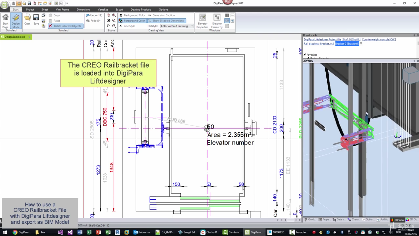 DigiPara Liftdesigner 2017: Using a PTC Creo elevator railbracket and export to BIM