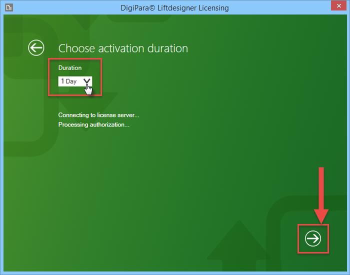 Flexible use of the DigiPara Liftdesigner through short-term activation