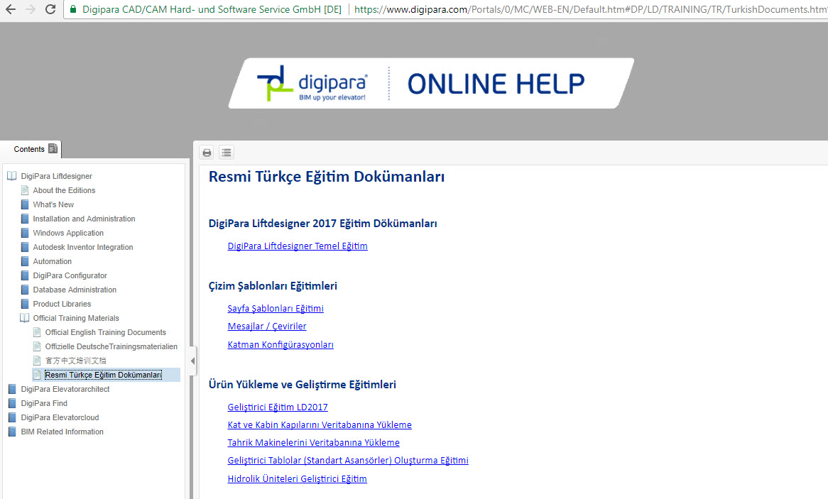 New: DigiPara Liftdesigner training documents in Turkish language online