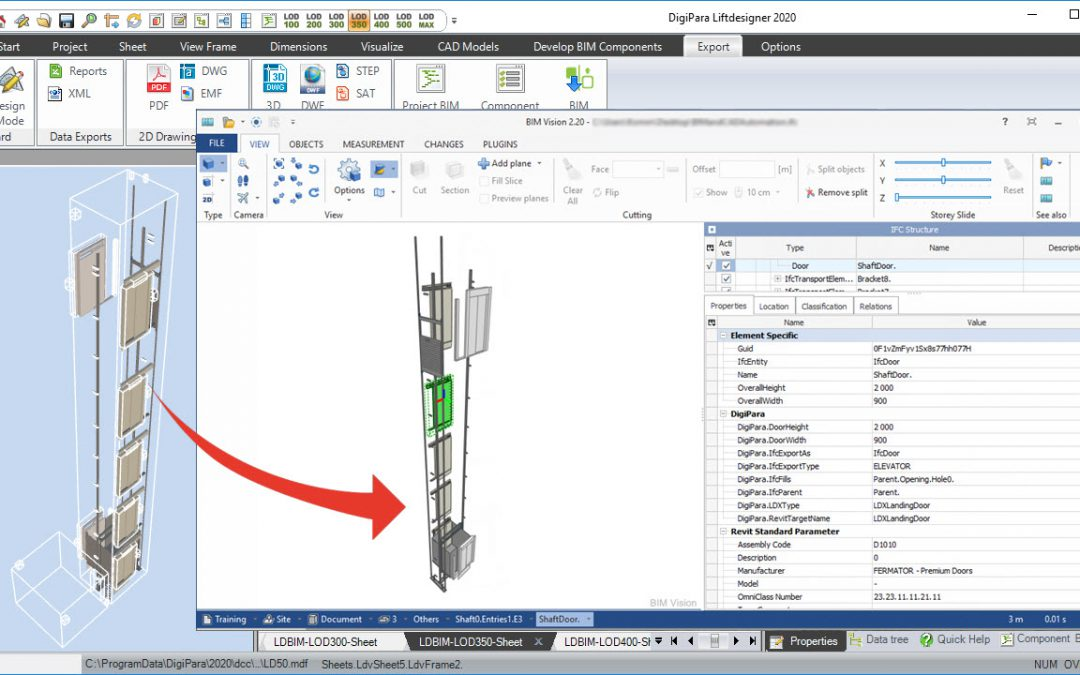 DigiPara Liftdesigner 2020 with groundbreaking new BIM features